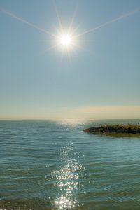 De pier van de haven van Laaxum in Friesland in de zon