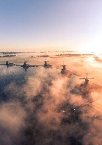 Die Zaanse Schans im Nebel 2 von Ewold Kooistra