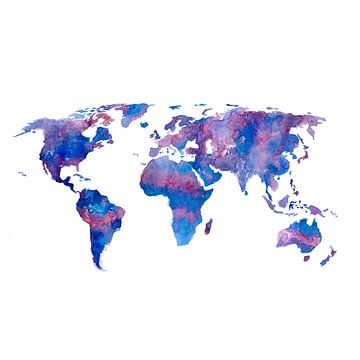 Weltkarte in Aquarell | Violett und Blau | Wandkreis von Wereldkaarten.Shop