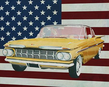 Chevrolet Impala 1959 mit Flagge der U.S.A. von Jan Keteleer