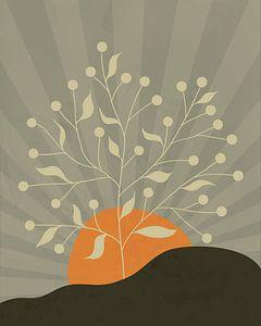 Minimalistische Landschaft mit einem Baum und einer Sonne in Orange von Tanja Udelhofen