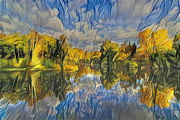 Digitaal kunstwerk bosmeer reflectie in herfstkleuren;  Amsterdamse Waterleidingduinen Zandvoort van Photo Henk van Dijk
