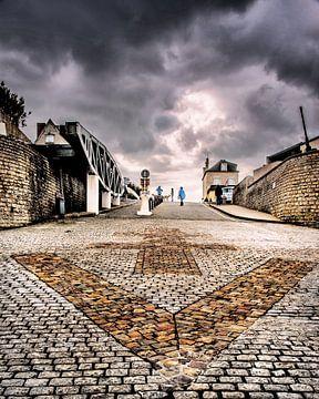 Strandoprit van Arromanches, Normandië, Frankrijk. van