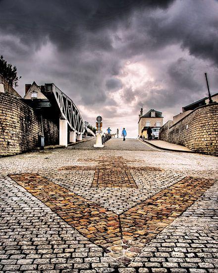 Strandoprit van Arromanches, Normandië, Frankrijk.