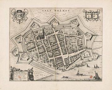 Oude kaart van Zaltbommel van omstreeks 1652. van Gert Hilbink