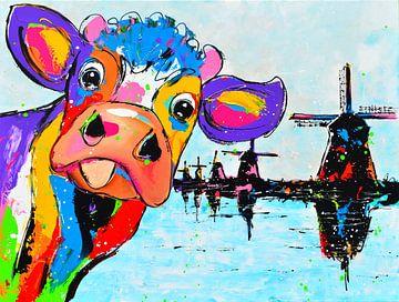 Kuh mit Windmühlen von Vrolijk Schilderij