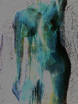 1.  model vrouw blauw/groen van Alies werk