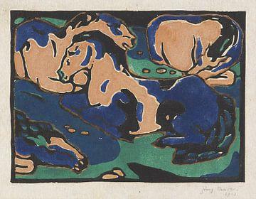 Ruhende Pferde, Franz Marc, 1912 von Atelier Liesjes