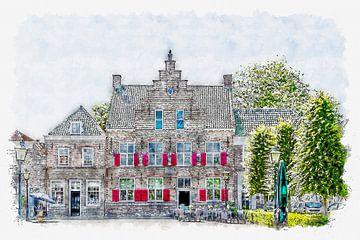 Hôtel Het Raedthuys à Sint-Maartensdijk (Tholen) (aquarelle) sur Art by Jeronimo