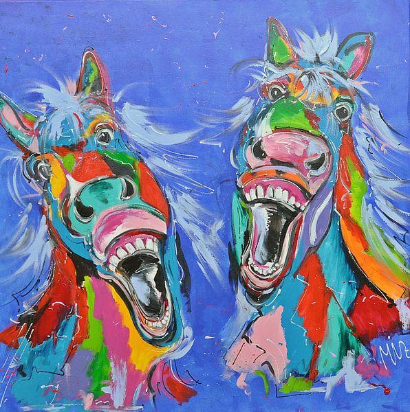 Vrolijk lachende paarden van Kunstenares Mir Mirthe Kolkman van der Klip