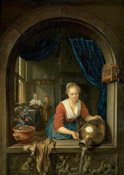 Dienstmädchen am Fenster, Gerard Dou