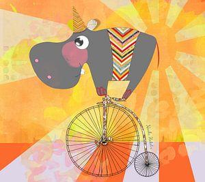 Nijlpaard op fiets voor in een kinderkamer