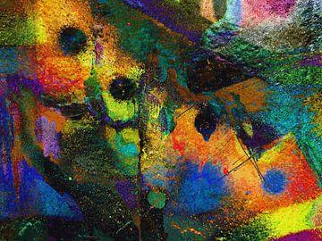Modern, Abstract Digitaal Kunstwerk in Oranje, Geel, Groen, Zwart van Art By Dominic