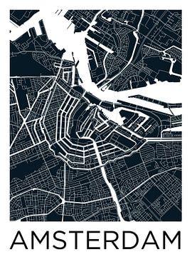 Amsterdam Noord en Zuid | Stadskaart ZwartWit van - Wereldkaarten.shop -