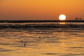 Sonnenuntergang über dem Wattenmeer in der Nähe von Moddergat von Paul Veen
