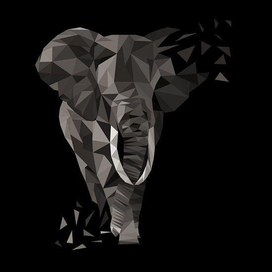 Elefant Dreiecke Low Poly Style