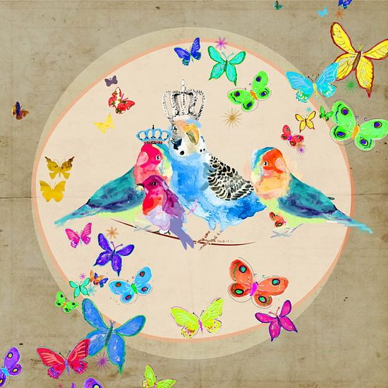 Vrolijke vogels met vlinders illustratie schilderij van Nicole Roozendaal