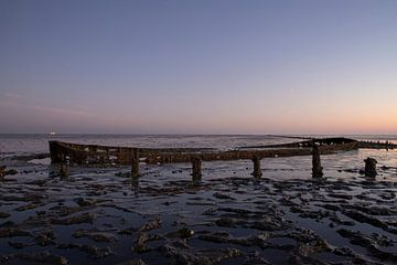 De Waddenzee bij zonsopkomst van