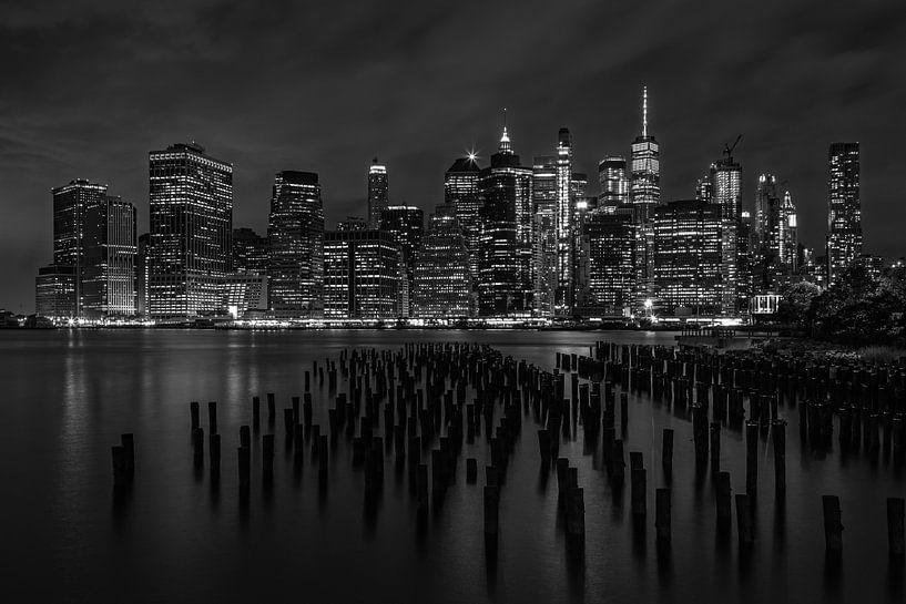 New York City Skyline in zwart-wit - september 2019 van Tux Photography