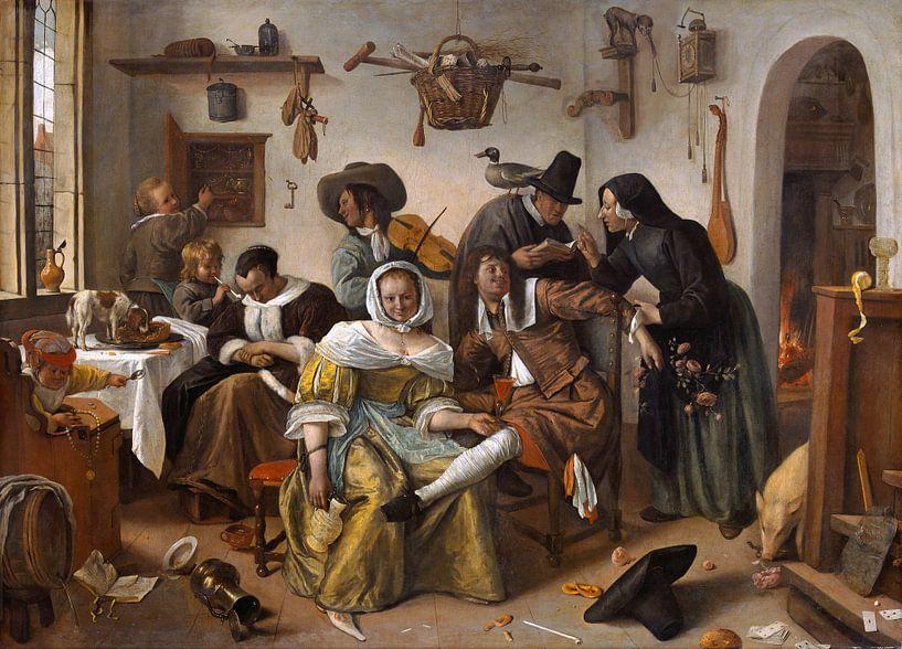 Jan Steen - Pas op voor luxe van 1000 Schilderijen