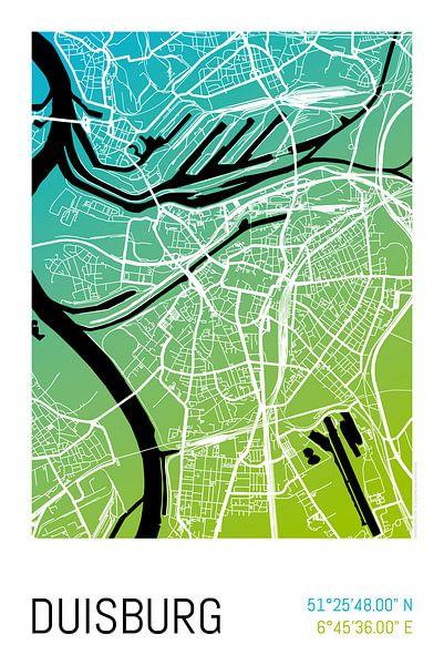 Duisburg – City Map Design Stadtplan Karte (Farbverlauf) von ViaMapia
