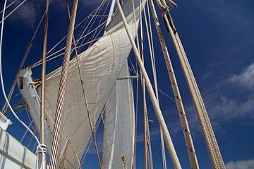 weiße Segel, Seile als Netz vor blauem Himmel von wil spijker
