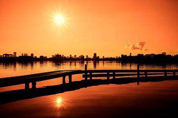 Rotterdamer Kralingse plas (Orange und Schwarz) von Rick van der Poorten