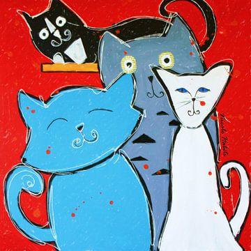 katten schilderij sur