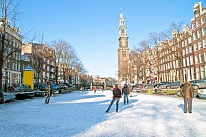 Winter op de Prinsengracht in Amsterdam