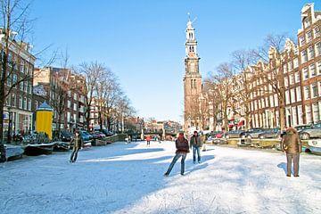 Winter op de Prinsengracht in Amsterdam van Nisangha Masselink