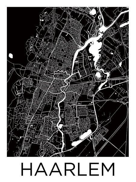 Haarlem | Stadskaart ZwartWit van Wereldkaarten.Shop