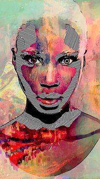Vrouwen gezicht in pastelkleuren en grafische zwart-wit lijnen van The Art Kroep