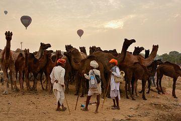 Kamelenmarkt in Pushkar van Thea Oranje