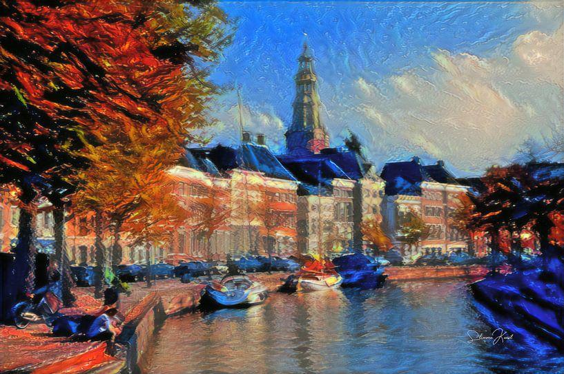 Sfeervol Schilderij Hoge der A Groningen van Slimme Kunst.nl