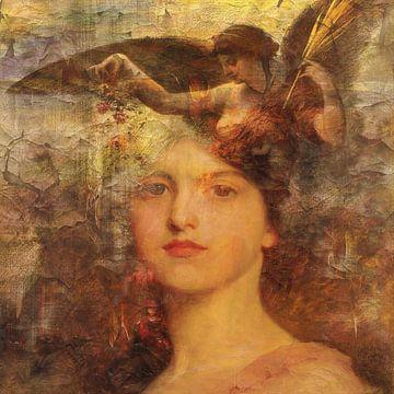 Klassiek collage met engel en vrouw van Joost Hogervorst