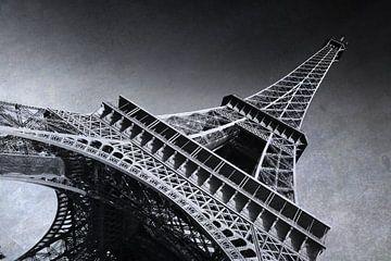 Parijs, Eiffeltoren, Frankrijk/ zwart-wit van