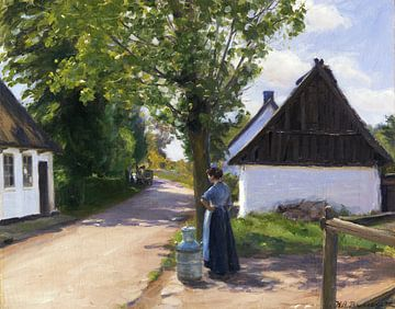 Dänische Dorfstraße mit Bäuerin und Milchmann, HANS ANDERSEN BRENDEKILDE, Ca. 1880 von Atelier Liesjes