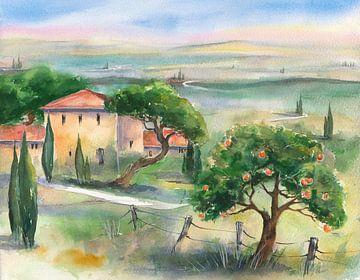 Toskana mit Orangenbaum van Jitka Krause
