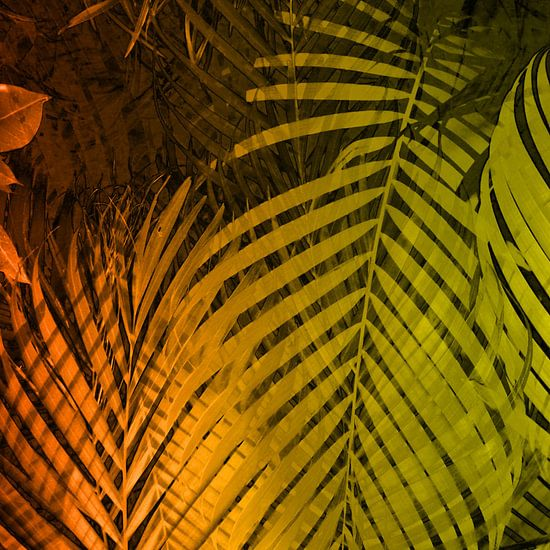 TROPICAL LEAVES GREEN MOCCA no2 van Pia Schneider
