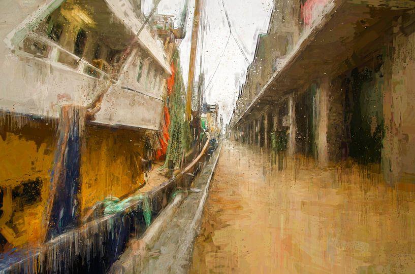 Scheveningen Kai mit Fischerbooten von Arjen Roos