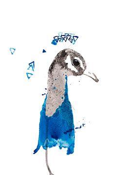 Pauw bijzondere vogel illustratie van Angela Peters