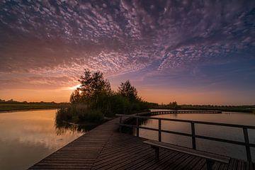 Sonnenuntergang am Steg, Zuidpolder Barendrecht von Rob Bout