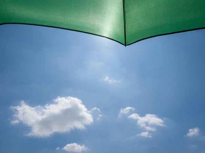 Groene visparaplu in de zon van Ramon Bovenlander
