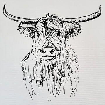 Strichzeichnung einer Kuh auf grobem Papier von Emiel de Lange