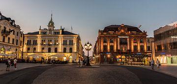 Uppsala (Zweden) bij nacht van Werner Lerooy