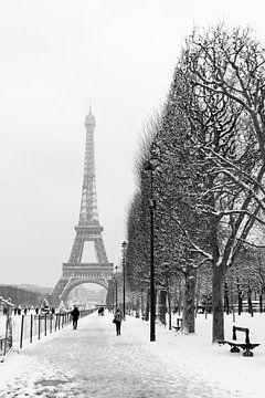 Besneeuwd winterlandschap bij de Eiffeltoren in Parijs van Michaelangelo Pix