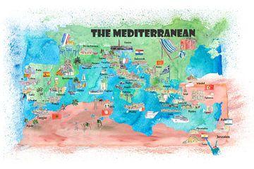 Mediterrane cruisereizen Posterkaart Spanje Italië Griekenland Palma Ibiza van Markus Bleichner