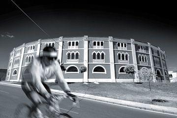 Architectuur met fietser