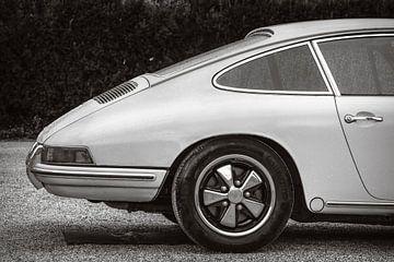 Porsche 911 Carrera klassieke sportwagen in zwart wit van