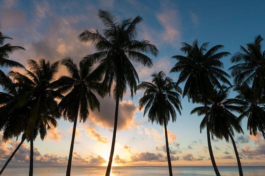 Zonsondergang Aitutaki van Laura Vink